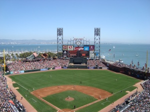The view from our seats at AT&T Park.