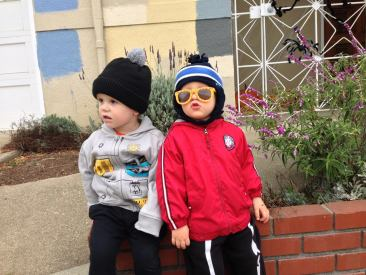 The Boy and his nannyshare buddy Jamie are too cool for preschool.