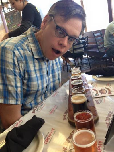 David at Bear Republic. His beer flight runneth over.