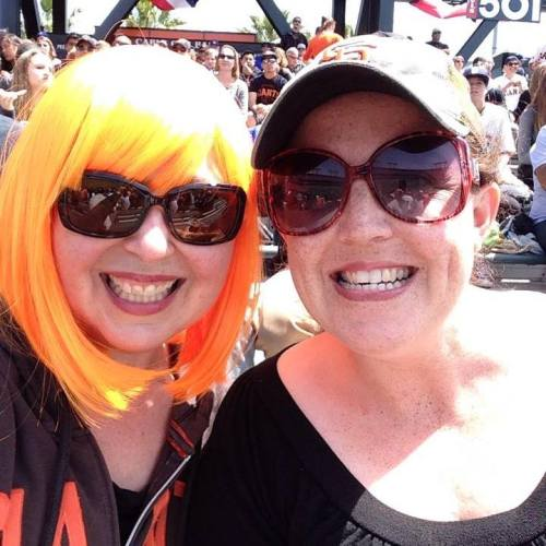 Orange wig and good buddy Kate at the Giants game last summer.